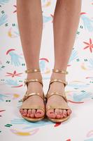 Gold Metallic Leather Sandals  image