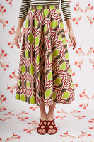 Full lime and khaki printed skirt  image
