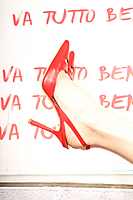 Red slingback pumps image