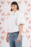 White blouse with puffed sleeves  image