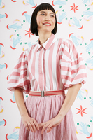Striped blouse with puffed sleeves  image