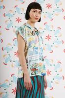 Postcard print blouse  image