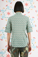 Green peach heart printed shirt with ruffles  image