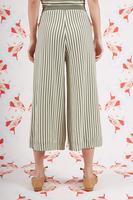 Sage green striped knit pants  image