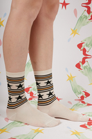 Ivory, Black and Yellow Stars and Stripes Socks  image