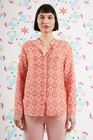 Bubblegum and Orange Geometric floral print shirt  image