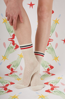 Ivory mid rise socks with Red and Navy stripes  image