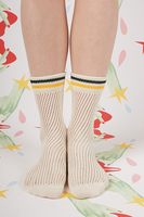 Ivory mid rise socks with Yellow stripes  image