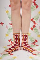 Burgundy and Orange Geometric Socks  image