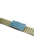 Teal and Yellow Geometric Mid Width Elasticated Belt image