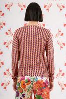 Geometric printed v neck sweater image