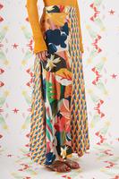 Mixed print long knit skirt  image
