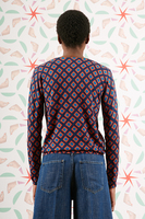 Diamond printed v neck sweater image