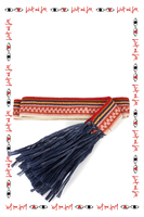 Pink and navy belt with fringed ends image