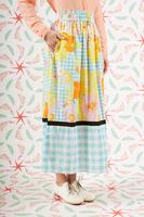 Floral and check midi skirt  image