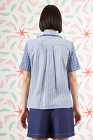 Contrast stripe and check shirt  image