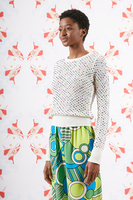 White rhinestone embellished sweater  image