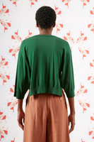 Bottle green cropped cotton sweater  image