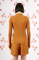 Caramel ribbed polo sweater  image