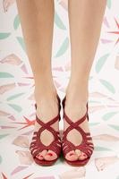 Burgundy braided leather high heeled sandals  image