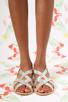 Silver metallic leather flat sandals  image