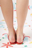 Red leather flip flops  image
