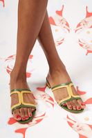 Green and yellow square cut out sandals  image