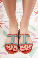 Brick and Pale blue square cut out sandals  image