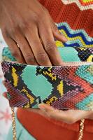 Rainbow Python Print Leather Clutch Bag  image