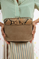 Snakeskin Print Leather and Suede Crossbody Bag  image