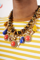 Bead and chain short necklace with charms  image