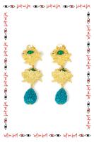 Teal rose drop clip on earrings  image