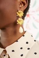 Ivory rose drop clip on earrings  image