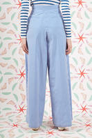 Blue and White Striped Palazzo Pants  image
