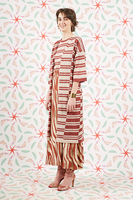 Tobacco striped long cardigan  image