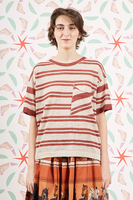 Tobacco striped oversized t-shirt  image