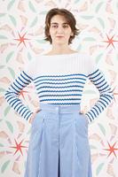 Blue zig zag striped ribbed sweater  image