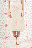 Embroidered daisy pencil skirt  image