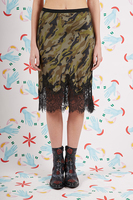 Camouflage print silk skirt with lace trim  image