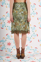 Floral print silk skirt with lace trim  image