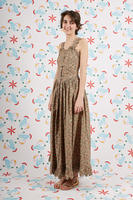 Long floral print dress with scallop edges  image