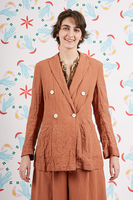 Unstructured double breasted linen blazer  image