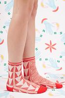 Raspberry and Pale Pink Geometric Socks  image
