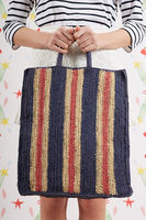 Navy and Red Striped Raffia Tote Bag  image