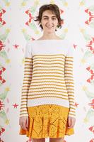 Mustard zig zag striped ribbed sweater  image
