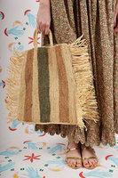 Striped Raffia Tote Bag with Fringes image