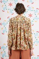 Floral Print Blouse With Cross Stitching  image