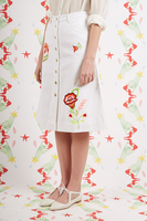 White Jean Skirt With Floral Embroidery  image