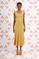 Gold Knit sleeveless dress with pleated skirt  image