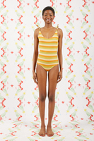 Peach and Tobacco Striped Swimsuit  image